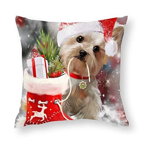 Bonita funda de almohada decorativa, diseño de cachorro de Navidad, 45 x 45 cm