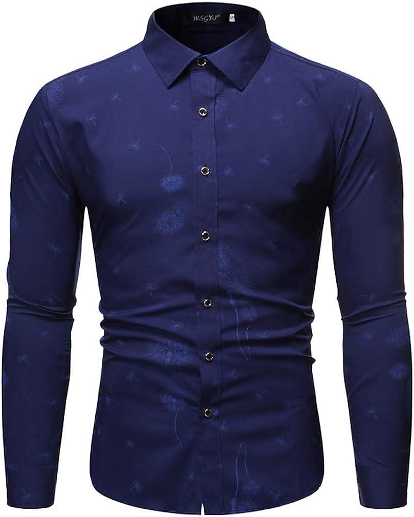 Men's Spring Dandelion Printed Business Lapel Dress Shirt Slim Fit Casual Shirt Long Sleeve Button Down Shirts