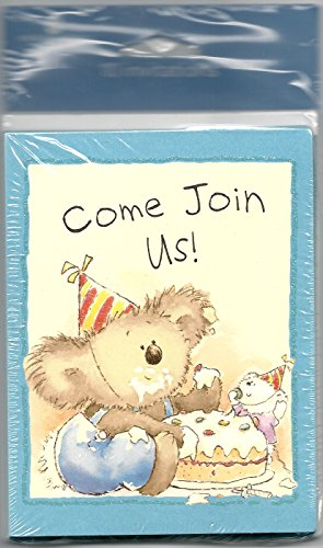 AMERICAN GREETINGS INVITE CARDS. 10 INVITATIONS 10 ENVELOPES. COME JOIN US. TEDDY BEAR EATING CAKE. by COME JOIN US INVITATIONS