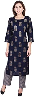 Vihaan Impex Rayon Straight Adda Embroidered Work Printed kurti with palazzo set for women
