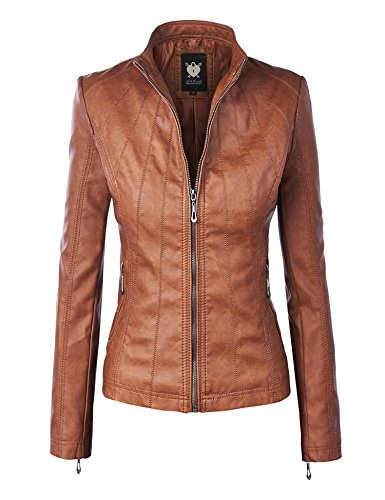 Lock and Love WJC877 Womens Panelled Faux Leather Moto Jacket XS Camel