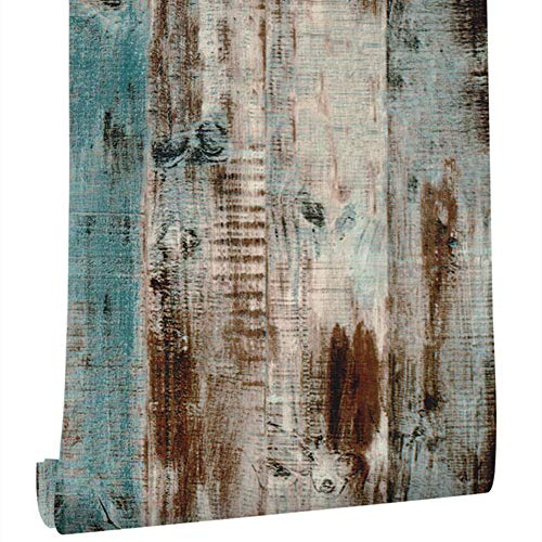 Livelynine 45CMx7M Tapete Holzoptik Klebefolie Muster Vintage Holz Tapete für Schlafzimmer Wohnzimmer Flur Wand Küche Spritzschutz Küchenrückwand Holz Schränke Wandverkleidung Dekofolie Blau Bunt