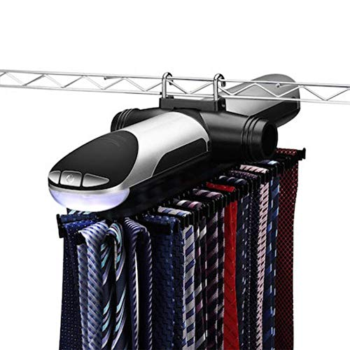 DOUDOU Motorized Tie Rack Best Closet Organizer with LED Lights, Rotation Operates with Batteries, Includes J Hooks for Wired Shelving Stores Up to 72 Ties and 8 Belts
