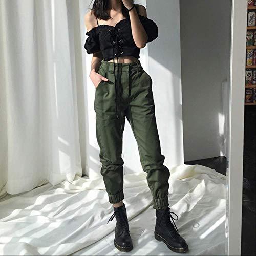 SKJSB Damenhosen Hohe Taillenhose Camouflage Lose Jogger Damen Army Harem Camo Pants Streetwear Schwarze Cargohose Damen Capris Hose L Army Green