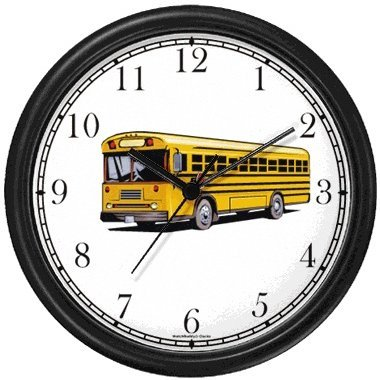 WatchBuddy Yellow School Bus No.2 Wall Clock Timepieces (Black Frame)