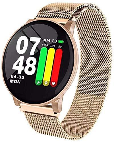 Reloj inteligente con pantalla de 1 3 pulgadas, monitor de actividad física, podómetro, pulsera de condiciones meteorológicas, mensaje, recordatorio inteligente, IP67, impermeable, 170 mAh-oro/acero