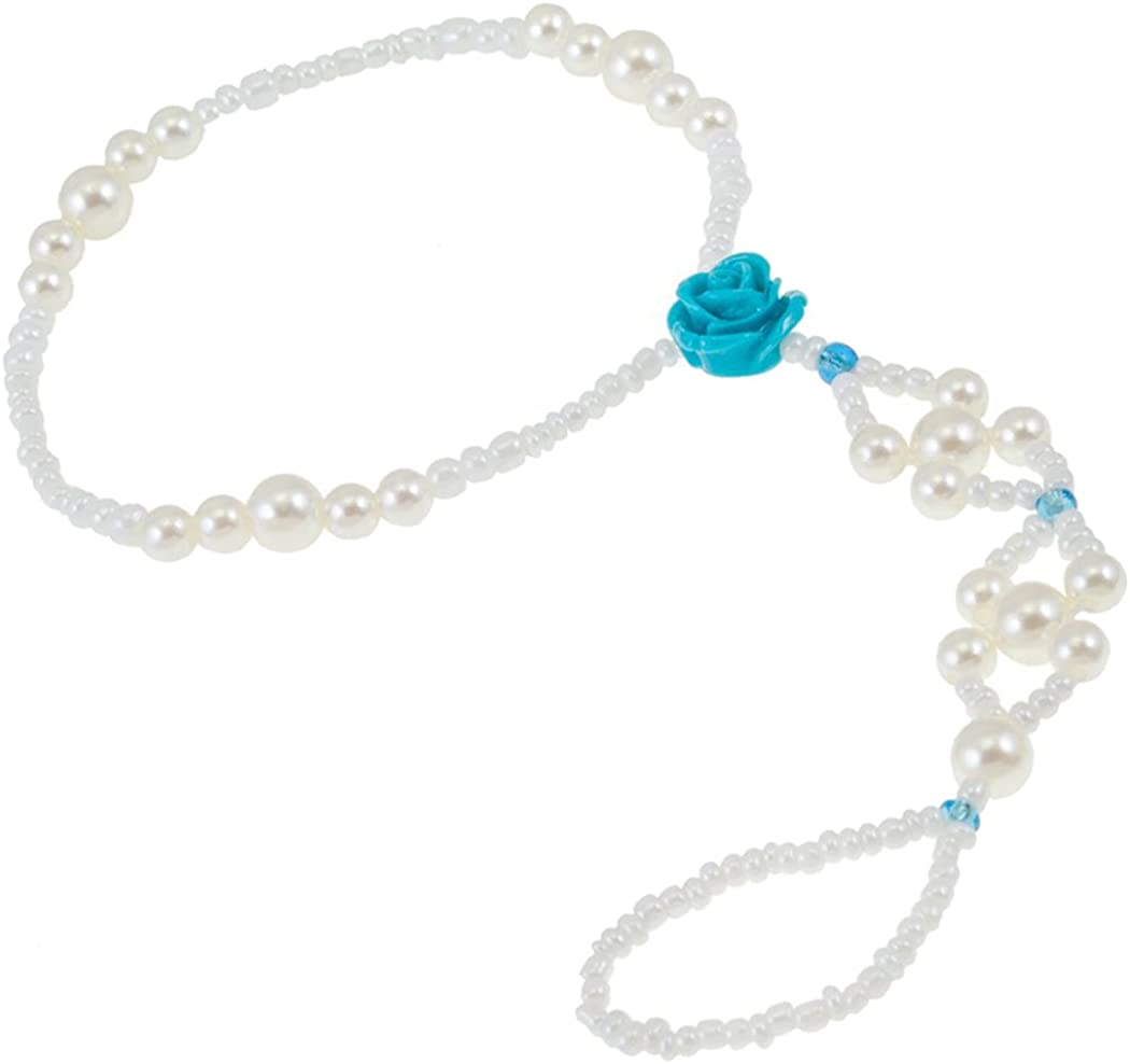 Elegant Jewelry Anklet With White Pearls Beads Connected To Toes Ring and Gorgeous Blue Rose Decoration
