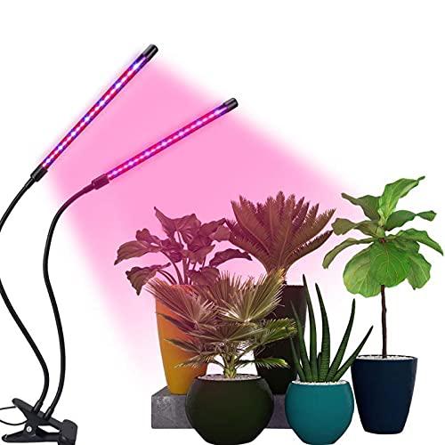 Lámpara de Crecimiento Lampara de Plantas 40 LED Lampara de Cultivo Grow Light Indoor Lámpara de Planta Espectro Completo Interruptor Temporizador Auto 3/9/12H Regulable 360° 9 Brillo 3 Modos