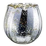Diamond Star Hurricane Candle Holder Mercury Silver Glass Candle Holder Decorative Ice Cracked Candle Holder for Table Centerpieces (Silver)