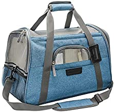 Airline Approved Pet Travel Carrier-Soft Sided Cat Carrier Portable with Fleece Padded Mat-Fits Under Airplane Seat-for Small Cat and Dog,Turquoise