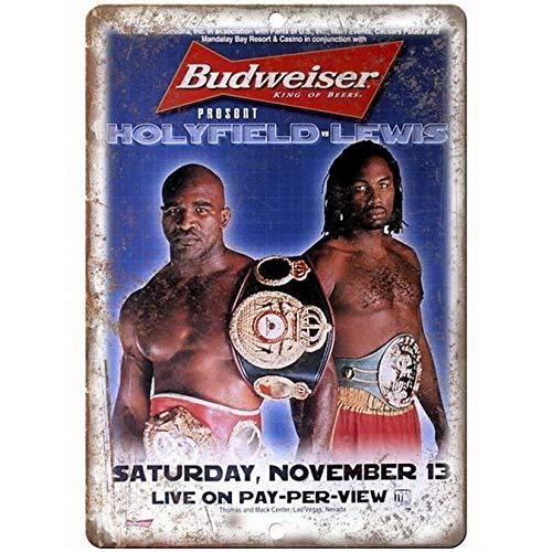 ABLERTRADE Budweiser King of Beers Boxing Holyfield vs Lewis Vintage Look Bier Blechschild Man Cave Bar Schilder