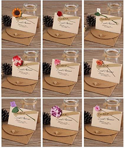 花束 メッセージカード 9種 9枚入 感謝カード グリーティングカード ミニメッセージカード ひまわり ローズ 誕生日 記念日 結婚 お祝い お見舞い 花付き 封筒付き