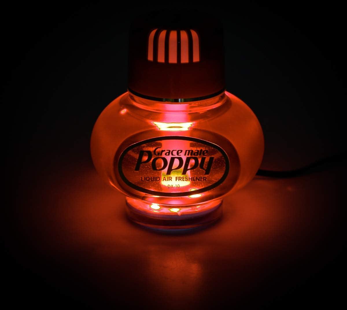 Lufterfrischer Original Poppy Mit Roter Led Beleuchtung Duft Inhalt 150 Ml 24 Volt Anschluss Für Lkw Duft Vanille Auto