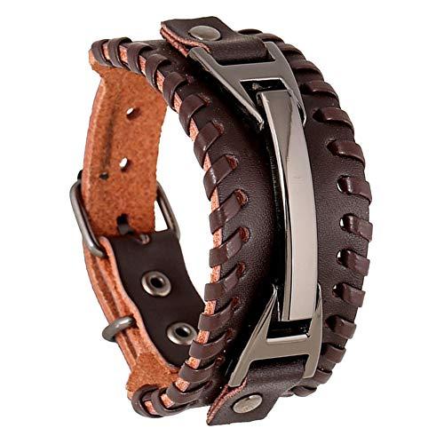 XQxiqi689sy Bracelet Bangle Punk Men - Pulsera de piel sintética de gran tamaño con forma de círculo, círculo, pulseras, joyas para regalo marrón