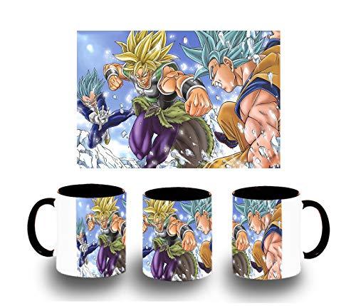 MERCHANDMANIA Taza Negra PELICULA Broly VS Goku Vegeta Dios Color mug