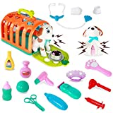 HISTOYE Vet Pet Set Veterinarian Doctor Kit for Kids Toy Dogs for Toddlers Pet Grooming with Puppy Dog Carrier Interactive Vet Clinic Pretend Playset Birthday Gifts for 2 3 4 5 Year Old Girls Boys