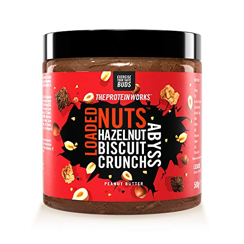 Loaded Nuts Erdnussbutter | Zero Palm Öl | Premium Schoko-Nussbutter | Proteinquelle | Hazelnut Biscuit Crunch Abyss | THE PROTEIN WORKS | 500 g