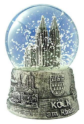 Dresden-Onlineshop Schneekugel Schüttelkugel Kölner Dom Silber mittel 6,5 cm in silberner Patina und Sockel mit Stadtwappen Köln