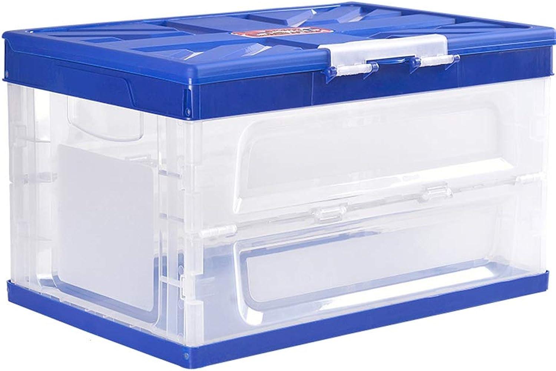 AXWT Multi-Function Folding Storage Box Car Trunk Storage Box Plastic Storage Box Storage Box Home Storage Fishing Box Debris Storage Box (color   bluee)