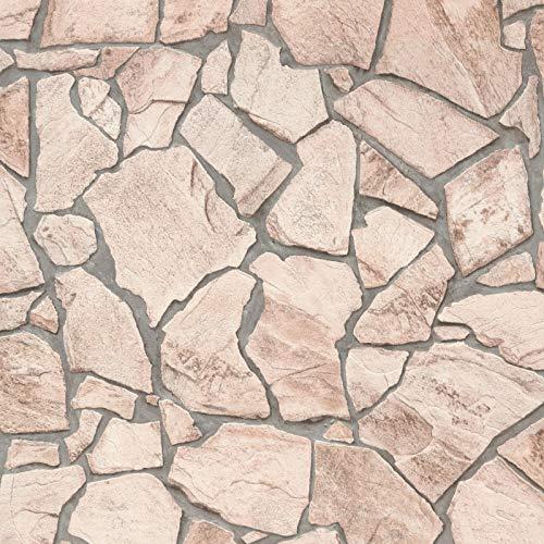 Vliestapete Steintapete Tapete Steinoptik Naturstein-Tapete Badezimmer-Tapete 927323 92732-3 A.S. Création Best of Wood`n Stone 2nd Edition | Beige/Crème Braun Grau | Muster (21 x 29,7 cm)