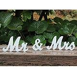 Amajoy Vintage Mr & Mrs letras blancas de madera - Soporte de letrero de boda para decoración del hogar