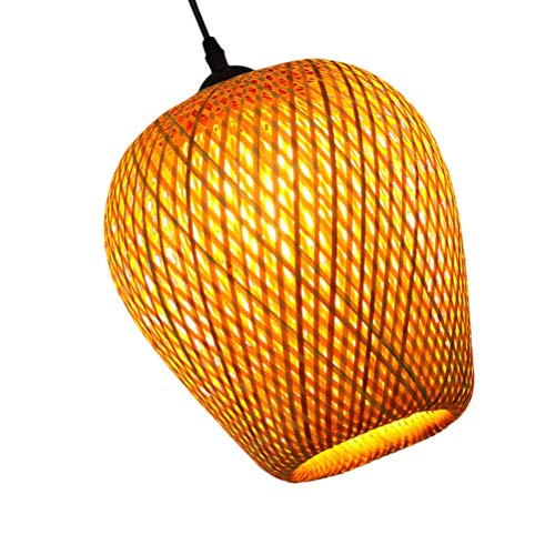Minkissy Cesta de Mimbre Colgante de Techo Sombra de Bambú Lámpara Colgante de Mimbre Lámpara de Mimbre Cortina Colgante Decoraciones Rústico Japonés Lámpara para Casa de Té Comedor Bar