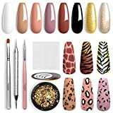 Leopard Gel Nail Polish Kit, Beetles Gel Polish Set 8 Colors White Glitter