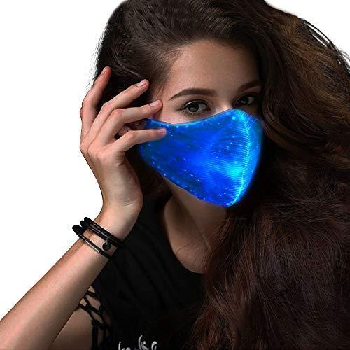 SAFEBAO LED Rave Mask 7 Colors Luminous Light for Men Women Face Mask Music Party Christmas Halloween Light Up Mask Flashing