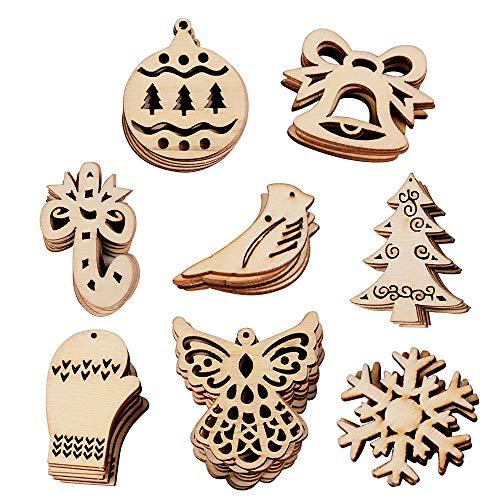 VINFUTUR 100 Stücke Weihnachten Holzanhänger Christbaumanhänger Geschenkanhänger Holz DIY Basteln für Weihnachtsbaumschmuck Weihnachtsdeko Holzdeko Holzscheiben Streudeko Verzierung