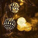 Guirlandes Solaires Maroc Boule De Jardin Décoration De Jardin Cordes Lumineuses Jardin Extérieur Étanche 2 Mode LED Blanc Chaud 50LED