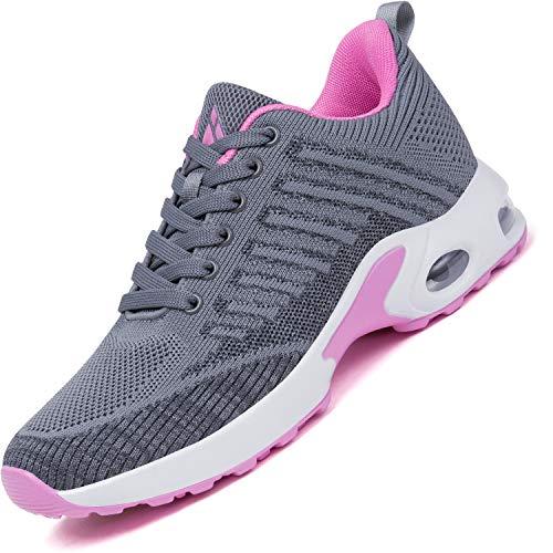Mishansha Sportschuhe Damen Air Straßenlaufschuhe Frauen Dämpfung Laufschuhe Leichtes Bequem Sneaker Grau A, Gr.39 EU