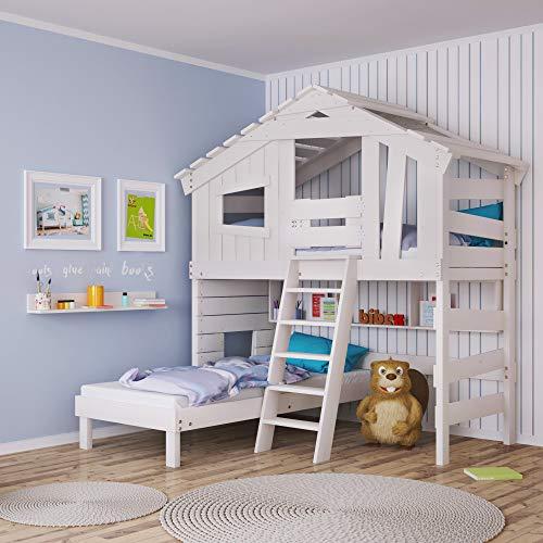 Cama infantil, cama alta, cama doble, cama de juegos, en blanco mate, pino macizo, cama superior e inferior (con puerta y estante)