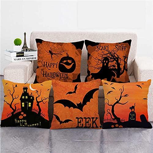 Lyotreiocvniszx Fundas de almohada de lino y algodón, 45 cm x 45 cm, diseño de animales de Halloween