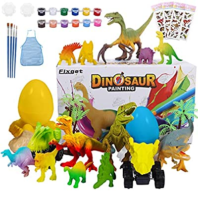Fixget Dinosaur Painting Kit, 36Pcs Kids Crafts and Arts Set, Animal Toy Art and Craft Supplies for Boys Girls Age 5+ Years Old Kid Fun DIY Creative Party Favors Birthday Gift Paint Dinosaur Set