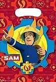 amscan- Fire Man Party Loot Bags-8 Pcs. Fireman Sam Bolsas de botín para fiesta de bomberos, 8 unidades, Multicolor (11012081)