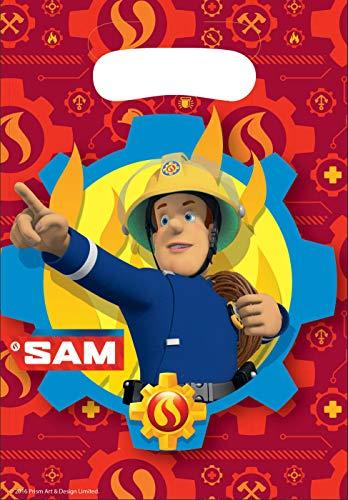 Amscan 9902179 - Partytüten Feuerwehrmann Sam, 8 Stück, 23 x 16,5 cm, Mitgebsel, Kindergeburtstag