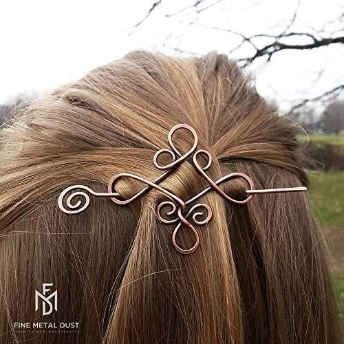 Spilla fermaglio barretta per capelli stile celtico - Fermacapelli in rame Fermaglio per capelli Spilla in metallo Accessori donna Accessori per capelli lunghi Regalo di natale Regalo donna