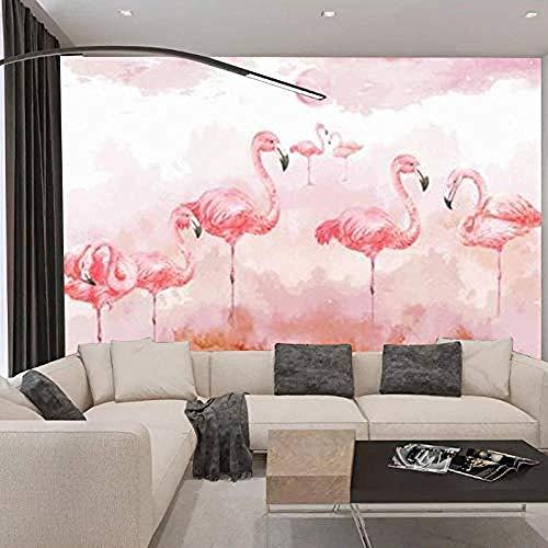 Papel tapiz 3D Simple Flamingo papel tapiz creativo estilo nórdico papel tapiz personalizado sin cos Pared Pintado Papel tapiz 3D Decoración dormitorio Fotomural sala sofá pared mural-150cm×105cm