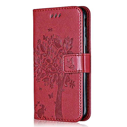 Conber Hülle für Samsung Galaxy A8S, PU Leder Tasche Flip Hülle Lederhülle Handyhülle, Vintage Katze & Baum Schutzhülle für Samsung Galaxy A8S - Rot