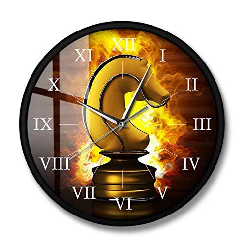 MXHJD-Caballo de ajedrez Dorado ardiente en Fuego Pieza de Juego de ajedrez Reloj de Pared Juego de Mesa Arte de Pared Reloj de Pared silencioso de Cuarzo Regalo para Jugadores de ajedrez