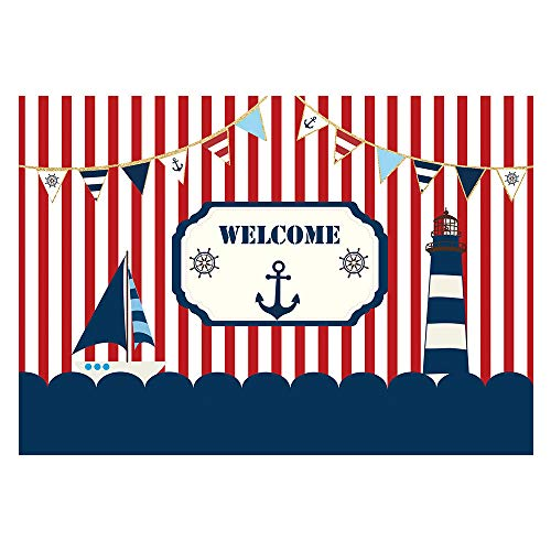 Funnytree 7x5ft Nautical Theme Party Backdrop Red White Striped Marine Voyage Boat Photography Background for Boy Birthday Navigation Lighthouse Baby Shower Decorations Photobooth Cake Table Banner