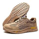 Zapatos De Seguridad para Hombre con Puntera De Acero Mujer Calzado De Trabajo Zapatos De Deportivos Transpirables (Color : Brown, Size : 40)