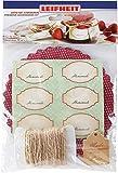 Leifheit Deko-Set Einkochen, mit Marmeladendeckchen, selbstklebenden Etiketten, Grußkarten, Gummis...