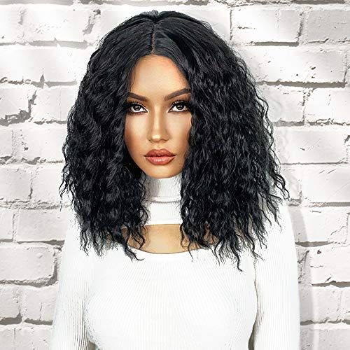 AISI QUEENS Kinky Curly Wigs for Black Women Short Wavy Bob Black Shoudler Length Synthetic Heat Resistant Wig for Daily Party Use 14 Inch