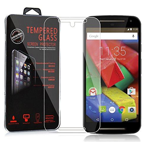 Cadorabo Panzer Folie für Motorola Moto G2 - Schutzfolie in KRISTALL KLAR - Gehärtetes (Tempered) Bildschirm-Schutzglas in 9H Festigkeit mit 3D Touch Kompatibilität