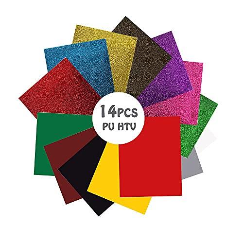 YUECUTE HTV Vinyl-Kits, 25 cm x 30,5 cm, inkl. HTV Flash-Vinyl-Kits, geeignet für T-Shirts, Hüte, Sportbekleidung, einfach zu schneiden und zu kleben (7 Farben, 1 Teflon), 15 Stück