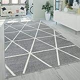 Paco Home Kurzflor Teppich Grau Weiß Wohnzimmer Rauten Muster Skandi Design Weich Robust,...