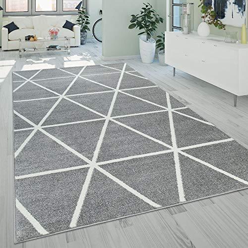 Paco Home Kurzflor Teppich Grau Weiß Wohnzimmer Rauten Muster Skandi Design Weich Robust, Grösse:240x320 cm