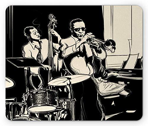 Alfombrilla de ratón con música de Jazz, Banda temática nostálgica con Trompeta Contrabajo, Piano y batería, Alfombrilla Rectangular de Goma Antideslizante, tamaño estándar, Gris carbón champán