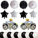 XYDZ 20PCS Forma de Coche Globos de Papel de Aluminio Transporte Tema para Niño Cumpleaños Decoraciones Fiesta Cars Bola de Flores de Papel Estrella de Cinco Puntas Globo Látex Coche de Policía